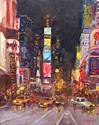 Times Square Painting Prints - NYC Times Square Print by Ylli Haruni