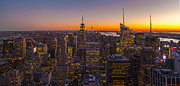 Big Top Framed Prints - NYC Top of the Rock Sunset Framed Print by Mike Reid