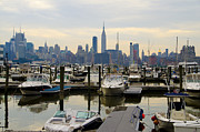 Nyc Digital Art Metal Prints - NYC View from Lincoln Harbor Weehawkin NJ Metal Print by Bill Cannon