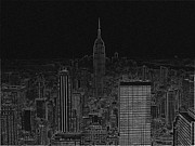Stenciling Posters - NYC white on black Poster by Meandering Photography