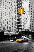 Cab Framed Prints - NYC  Yellow Cab at the crossroad Framed Print by Hannes Cmarits