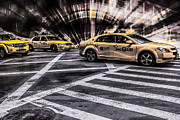 Cab Digital Art Framed Prints - NYC Yellow Cab on 5th Street - white Framed Print by Hannes Cmarits