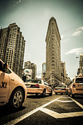 High Tower Metal Prints - NYC Yellow cabs at the flat iron building - V1 Metal Print by Hannes Cmarits