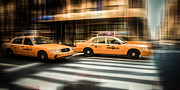 Cab Framed Prints - NYC Yellow Cabs Framed Print by Hannes Cmarits
