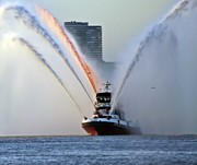 2013 Photos - NYFD Boat Red White and Blue Water Spray  I by Lilliana Mendez