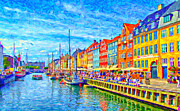 Port Town Digital Art Framed Prints - Nyhavn in Denmark painting Framed Print by Antony McAulay
