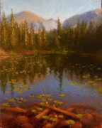 Mountains Painting Posters - Nymph Lake Poster by Timothy Jones