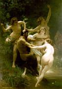 Satyr Prints - Nymphs and Satyr Print by William Bouguereau