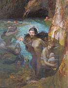 Nymphs At A Grotto Print by Gaston Bussiere
