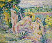 Dot Painting Framed Prints - Nymphs Framed Print by Henri Edmond Cross