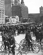 Police Patrol Law Enforcement Prints - NYPD Bicycle Force Print by Underwood Archives