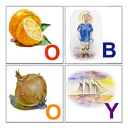 Kids Room Framed Prints - O BOY Art Alphabet for Kids Room Framed Print by Irina Sztukowski