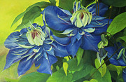 Lush Colors Painting Posters - O Clematis Poster by Jeanette French
