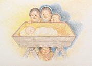 Christian Artwork Drawings - O Come Little Children - Christmas Card by Michele Myers