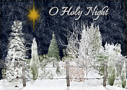 Snowy Night Night Mixed Media Posters - O Holy Night Poster by Vickie Emms