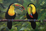 Tropical Birds Posters - O Yeah Yeah Yeah -Toucans Poster by Suzanne Schaefer
