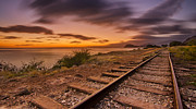 Top Seller Prints - Oahu Rail Road Track Sunset Print by Tin Lung Chao