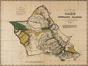 Old Map Photos - Oahu Sovereign Hawaii Map  1881 by Daniel Hagerman