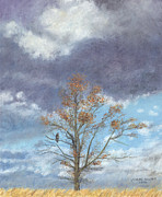 Autumn Landscape Pastels - Oak and Clouds by Jymme Golden