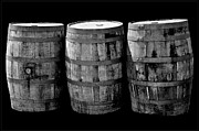 Wine Barrel Photos - Oak Barrels BW on BK by LeeAnn McLaneGoetz McLaneGoetzStudioLLCcom