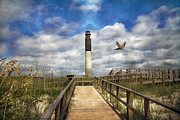 Sea Oats Prints - Oak Island Lighthouse Print by Betsy A Cutler East Coast Barrier Islands
