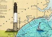 East Coast Lighthouse Paintings - Oak Island Lighthouse NC Nautical Chart Map Art Cathy Peek by Cathy Peek