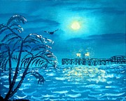 Sea Moon Full Moon Painting Originals - Oak Island Pier by Margaret G Calenda