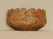 Wood Carving Sculpture Posters - Oak Leaf Bowl Poster by Russell Ellingsworth