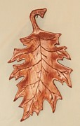 Woodcarving Sculpture Originals - Oak Leaf Candy Dish by Russell Ellingsworth