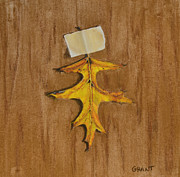 Greeting Card Pastels Originals - Oak Leaf by Joanne Grant