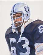 Football Paintings - Oakland Raider Gene Upshaw by Angela  Villegas