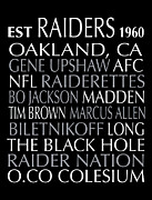 Subway Art Framed Prints Digital Art - Oakland Raiders by Jaime Friedman