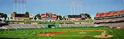 Baseball Stadiums Painting Framed Prints - Oakland Framed Print by Thomas  Kolendra