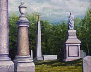 Headstones Painting Prints - Oakwood Cemetery Jefferson Texas Print by Lenora  De Lude