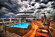 Umbrellas Metal Prints - Oasis if the Seas Pool Deck - HDR Metal Print by Amy Cicconi