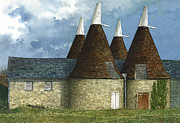 Hops Painting Framed Prints - Oast Houses Framed Print by Tom Wooldridge