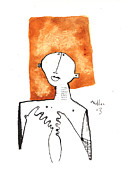 Orange Drawings Framed Prints - Oaths No.1 Framed Print by Mark M  Mellon