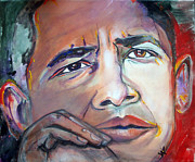 Obama Paintings - Obama 2 by Valerie Wolf