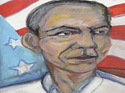 President Obama Pastels Prints - Obama 2012 Print by Derrick Hayes