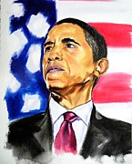 44th President Painting Framed Prints - Obama 2012 Reelected 44th  Framed Print by Clayton Singleton