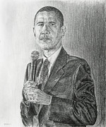 Barack Obama Drawings Metal Prints - Obama 3 Metal Print by Michael Morgan