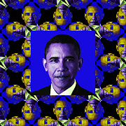 Barack Obama Digital Art Posters - Obama Abstract Window 20130202m118 Poster by Wingsdomain Art and Photography