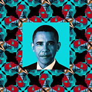 Barack Obama Digital Art Posters - Obama Abstract Window 20130202m180 Poster by Wingsdomain Art and Photography