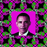 Barack Obama Digital Art Prints - Obama Abstract Window 20130202m60 Print by Wingsdomain Art and Photography