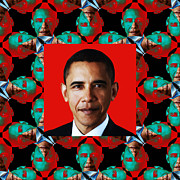 President Obama Pop Art Posters - Obama Abstract Window 20130202p0 Poster by Wingsdomain Art and Photography