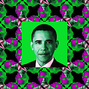 Barack Obama Digital Art Framed Prints - Obama Abstract Window 20130202p128 Framed Print by Wingsdomain Art and Photography