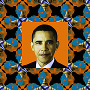 Barack Obama Digital Art Framed Prints - Obama Abstract Window 20130202p28 Framed Print by Wingsdomain Art and Photography