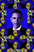 Barack Obama Digital Art Metal Prints - Obama Abstract Window 20130202verticalm118 Metal Print by Wingsdomain Art and Photography