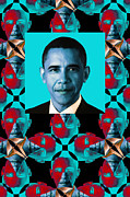 Barack Obama Digital Art Metal Prints - Obama Abstract Window 20130202verticalm180 Metal Print by Wingsdomain Art and Photography