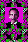 Barack Obama Digital Art Framed Prints - Obama Abstract Window 20130202verticalm60 Framed Print by Wingsdomain Art and Photography